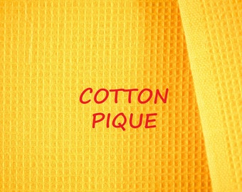 1 YARD, PIQUE, Marigold Yellow, Dobby Weave Craft or Fashion Fabric, Medium Weight Cotton, B6