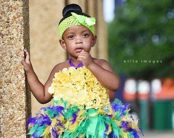 Floral tutu dress, mardi gras feather dress, flower girl dress, flower tutu, pageant dress, girls dress, baby dress, girls clothing