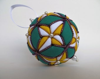 Christmas Ornament - Yellow and White 4 Pointed Stars on Green Background with Purple and Gold Trim - Made to Order
