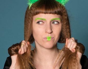 Neon bright green faux fur pompom 'ears' hair band