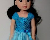 Fancy Blue Ball Gown For 14 Inch Dolls, Fits Wellie Wishers