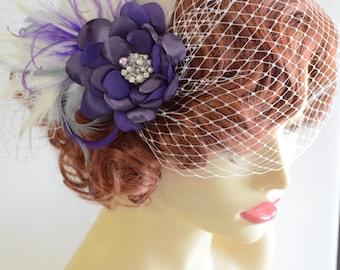 Bridal Purple Hair Flower with Birdcage veil, Birdcage veil with hair flower, Purple flower with feathers, Side pouf birdcage veil, Vintage