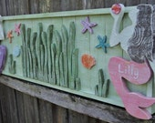 RESERVED For LYNDSAY WOODRUM  Mermaid Headboard And Matching Foot Board