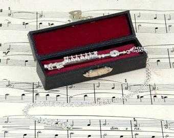 Flute Necklace in Case, Music Jewellery, Flute Jewellery