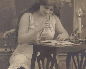 The Girl With The Cartoon Candle. Risque German Postcard, circa 1907