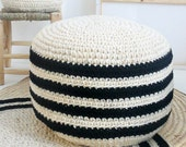 Crochet pouf thick wool - Natural undyed and black stripes