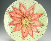 """15-1/2"""" Serving Platter Abstract Poinsettia Christmas Red and Green Hand Painted Dinnerware"""