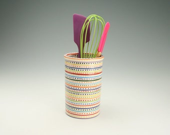 Reserved for Kristin - Wow Stripes and Dots Utensil Crock or Vase Colorful Hand Painted Stripes