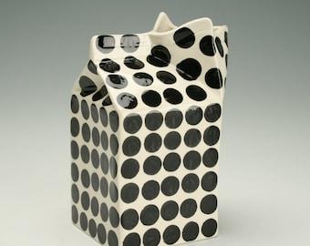 Milk Carton Vase or Creamer Polka Dots Hand Painted