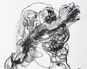 """Gestural and Expressive, Male Figure Drawing  - 11 x 14"""",  fine art - Drawing 434 - pastel and charcoal on paper - original drawing"""