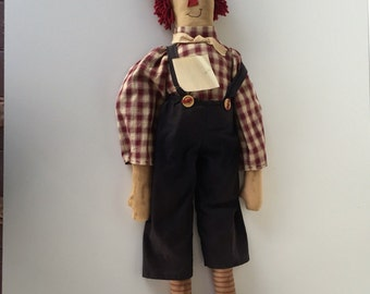 Raggedy Andy Doll/Handmade OOAK c.1990/LARGE 31 Inches By Gatormom13 Just REDUC