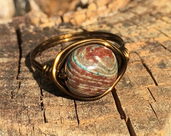 Blue Sky Jasper gemstone wire wrapped ring - SIZE 8.5 , 8 1/2 - antique brass / gold - brown - earthy metaphysical women natural jewelry
