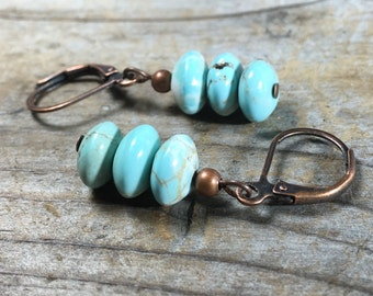 Magnesite stone earrings - turquoise blue gemstone antique copper leverback ocean beachy women girl jewelry handmade nickel free simple