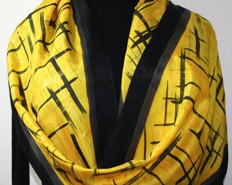 Silk Scarf Hand Painted Black, Yellow. Handmade Silk Scarf GOLDEN SERENITY, Large 14x72. Birthday Gift  Hand Dyed. Gift Wrapped