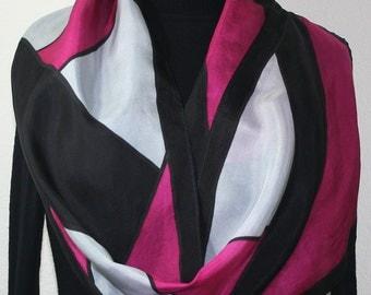 Silk Scarf Black, Grey, Pink Hand Painted Silk Shawl HAPPY MOOD by Silk Scarves Colorado. Size 11x60. Elegant Silk Gift. Birthday Gift,