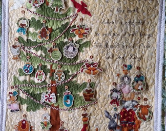 Quilted Advent Calendar with 24  fabric ornaments, Embellished Art Quilt, Religious Advent Calendar, Heirloom Quality, Quiltsy Handmade