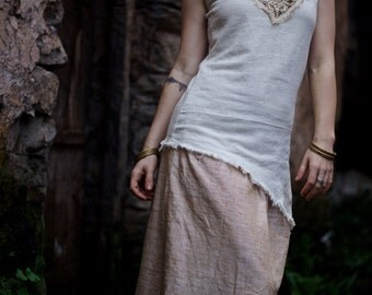 Tribal Cream Pixie long  top with Embroidery made of cotton  Native Traditional Ethnic Folk Natural