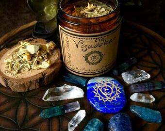 Throat Chakra (Vishuddha)- Herbal Incense and Crystals Set