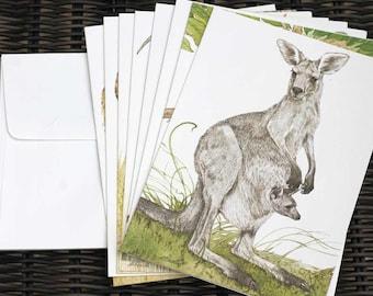 Current Inc. Endangered Species international wildlife notecards set of 8 white envelopes kangaroo vicuna antelope lemur seal leopard lynx