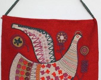 Vintage Large Handmade Wool and Linen Folk Art Dove Wall Hanging