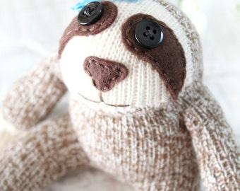 Baby Sloth Sock Monkey Doll