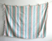 Pastel Pink Mint Mexican Blanket