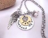 Husband Memorial Jewelry, Husband  Memorial Necklace, My Husband  My Angel, Husband  Bereavement, Loss of Husband, Husband Loss