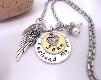 Husband Memorial Jewelry, Husband  Memorial Necklace, My Husband  My Angel, Husband  Bereavement, Loss of Husband, Husband Loss