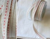 "CLEARANCE - JUTE + RED Stitch - 30 Yards of Ribbon - Natural Jute with Red Stitching - 100% Jute, 5/8"" wide Full Spool"