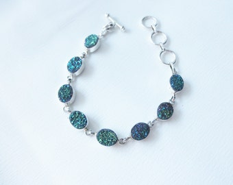 Druzy and Sterling bracelet
