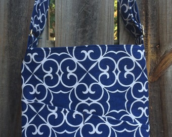 Cross Body Messenger Bag with zipper closure and lots of pockets - Blue and White
