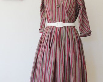 1950s Nicholas Ungar Striped Cotton Shirtwaist Dress // Medium