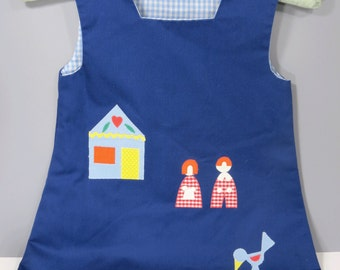 Vintage Girl's Reversible Jumper Dress, Sundress, Pinafore with Appliques, Size 5, High Fashion