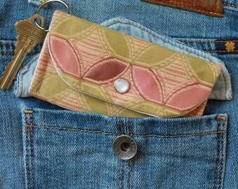 Cardholder Wallet Keychain - College ID Holder with Flower Petals - Front Pocket Wallet - ID Card Holder Wallet for Women
