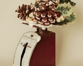 Vintage Red Kitchen Scale w Pinecones & Holly