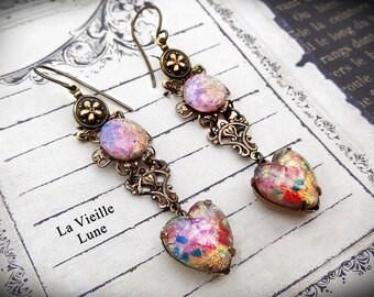 Pink Opal Glass Victorian Earrings, Drop Earrings, Long Dangle Earrings, Gothic Heart Jewel Earrings, Victorian Jewelry