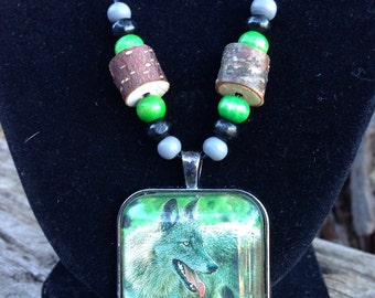 Wolf in the Woods Necklace (Wolves - Wild Animals - Predators - Totem)