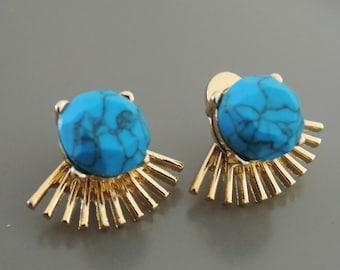 Ear Jackets - Turquoise Earrings - Ear Jacket Earrings - Stud Earrings - Statement Earrings - Post Earrings