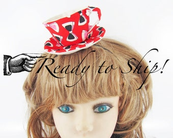 Ready to Ship! Textile Teacup Fascinator-Bow on Red *Alice in Wonderland's Mad Hatter Tea Party!*