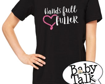 Hands Full Heart Fuller womens tee shirt with glitter heart - Mother's Day Gift Idea - custom personalized in crew neck or vneck
