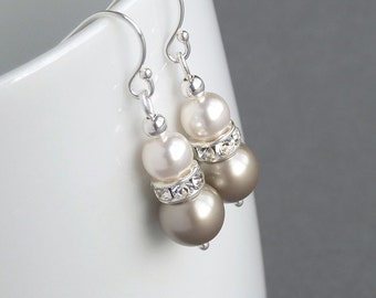 Champagne Pearl and Crystal Earrings - Taupe Pearl Drop Earrings - Soft Gold Wedding Accessories - Bridesmaid Jewellery - Bridal Party Gifts