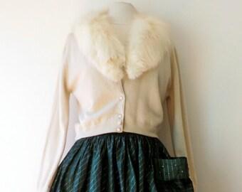 Vintage 1950's/Ivory Cashmere Cardigan Sweater with Mink Collar/Mink Collar Sweater/Pam Stewart/Medium