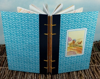Covered Wagon Pioneer Scene Writing Journal with Vintage Western Playing Card on Readers Digest Hardcover