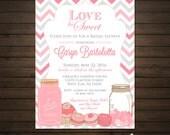 Love is Sweet Pink and Gray Chevron Bridal Shower Invitations Printable File - Mason Jars, Hearts, Cupcakes