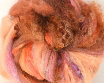 Farm Wool Cormo Art Batt for Spinning and Felting Fiber Fleece Textured Chunky Colorway- Flipper