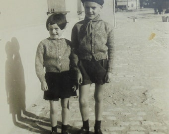 French Vintage Photograph - Brother & Sister