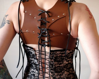 Small Real Leather Corset Vest - Brown - steampunk - burning man - apocalypse, Please read Description for size