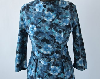 Vintage Blue Rose Dress Cotton 60's Wiggle Dress with Belt Size Small