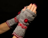 Handmade Fingerless Embroidered Grey Mitts - Love Me! by Dom Klary