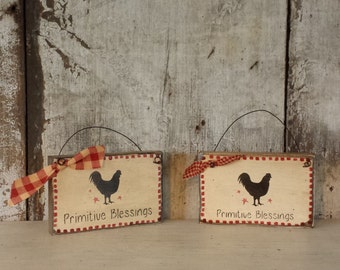 Rooster Decor, Primitive Decor, Primitive Blessings, Primitive Rooster, Painted Rooster, Country Decor, Rooster Decor, Primitive Sign